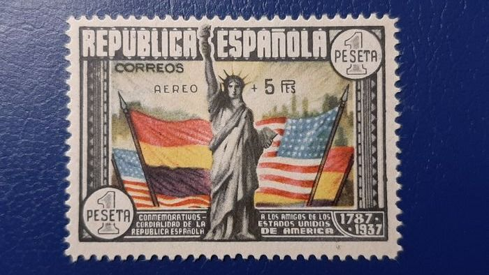 Spanien 1938 - 150th Anniversary of the USA Constitution. 'Aéreo + 5 pts' overprint. - Edifil 765