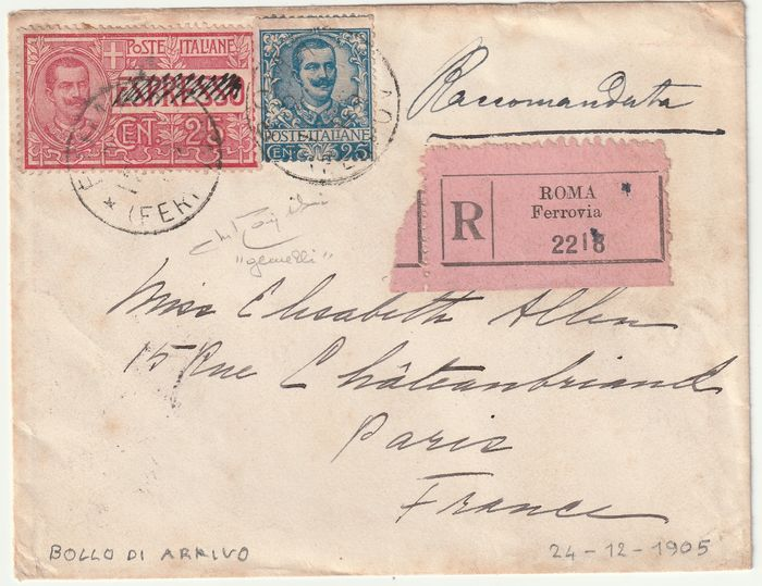 Königreich Italien - Notfall TWIN Porto 1921 - 25 c. + express stamp 25 c. cancelled for regular use on registered letter from Rome to Paris, rare - Sassone NN.73 + EXP 1