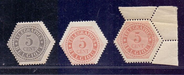 Belgio 1879 - Telegraph stamps 5 cent grey and red-ochre + dark red-ochre - OBP / COB TG8/9 + 9a