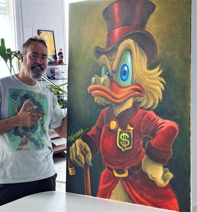 """$crooge McDuck """"Carl Barks Tribute"""" - Large Painting on Canvas - 116 x 81 x 2 cm - Joan Vizcarra"""