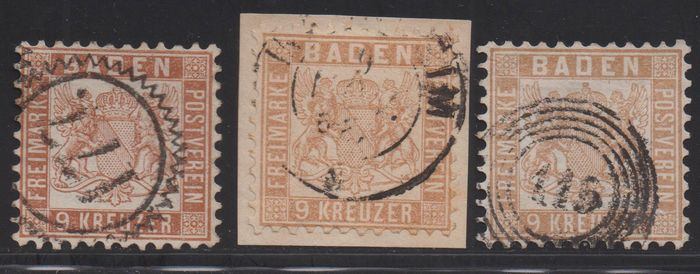 Baden 1864/1866 - Three different colours of the 9 kreuzers - Michel 20 a, b, ba
