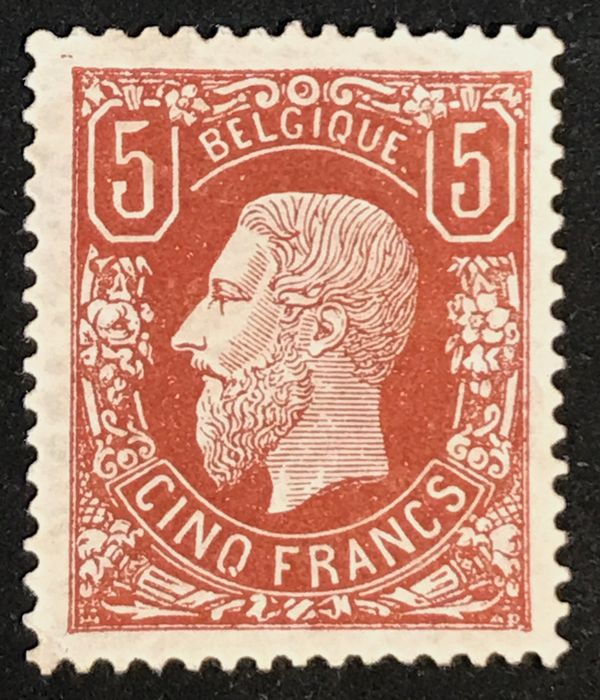Belgium 1869 - Leopold II 5 francs OBP 37 brown-red - Deep colour, lovely centred
