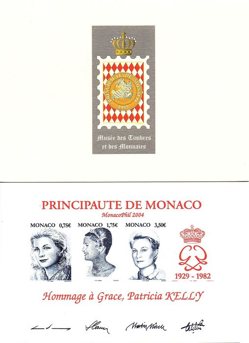 Monaco - 2004 - Tribute to Grace, Patricia Kelly: Very rare proof with signature of the block