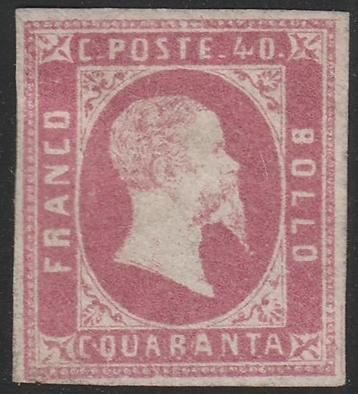 Italian Ancient States - Sardinia 1851 - 1st issue 40 c. pink with good margins, mint, very rare and certified - Sassone N.3