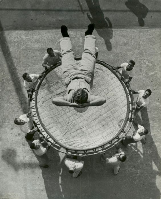 Mike Freeman (XX)/Miami Herald - Overhead View of Trainee Jumping Into Net, Fire College, Miami, 959