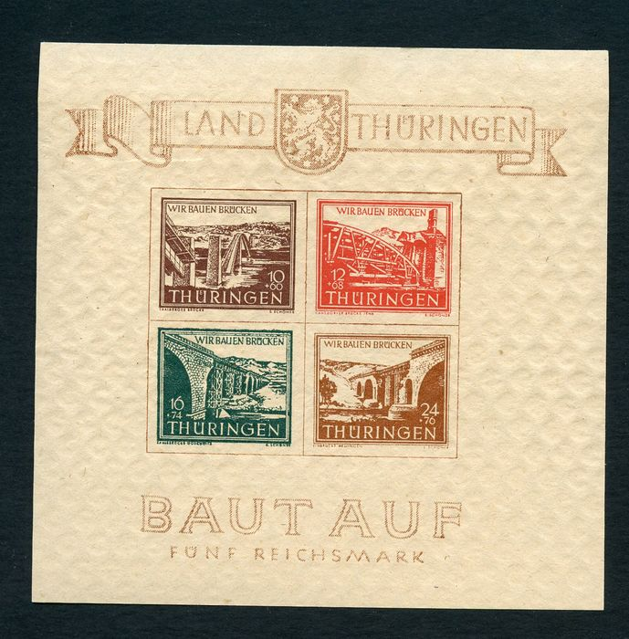 Geallieerde bezetting - Duitsland (Sovjet-zone) 1946 - Thuringia - gutter pairs N. BF4