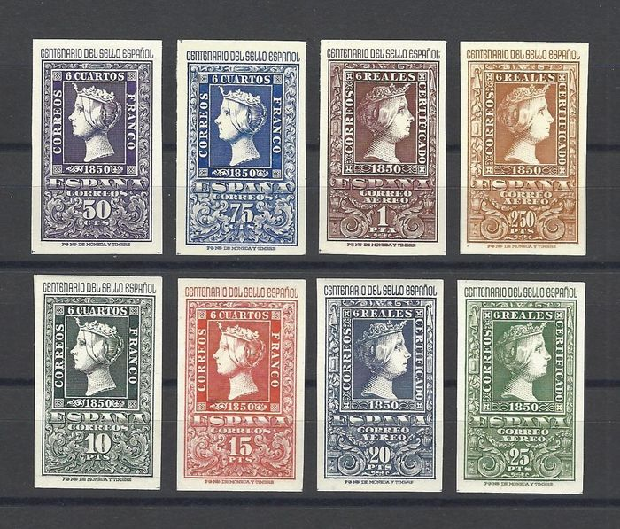 Espagne 1950 - Centennial of Spanish stamps complete set - Edifil 1075/82