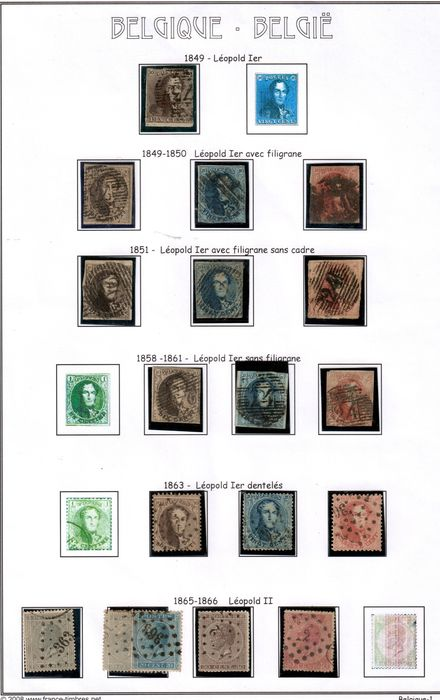Belgique 1849/1891 - Selection of the 47 first stamps - Yvert Between Nº 1 a 52