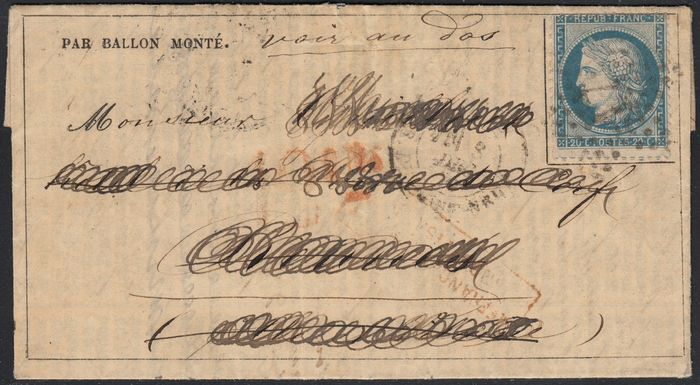 Frankrijk 1870 - 'Le General Renault' balloon mail, bound for Spain, rare