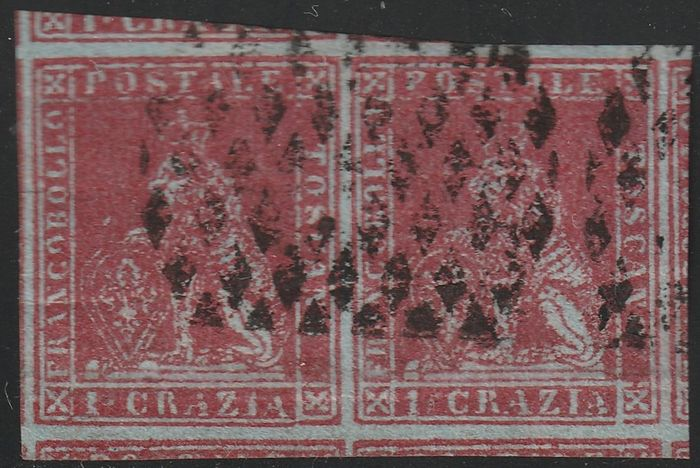 Italiaanse oude staten - Toscane 1852 - 1st issue 1 cr. carmine pair with huge margins showing all the next pieces, used with diamond - Sassone N.4b