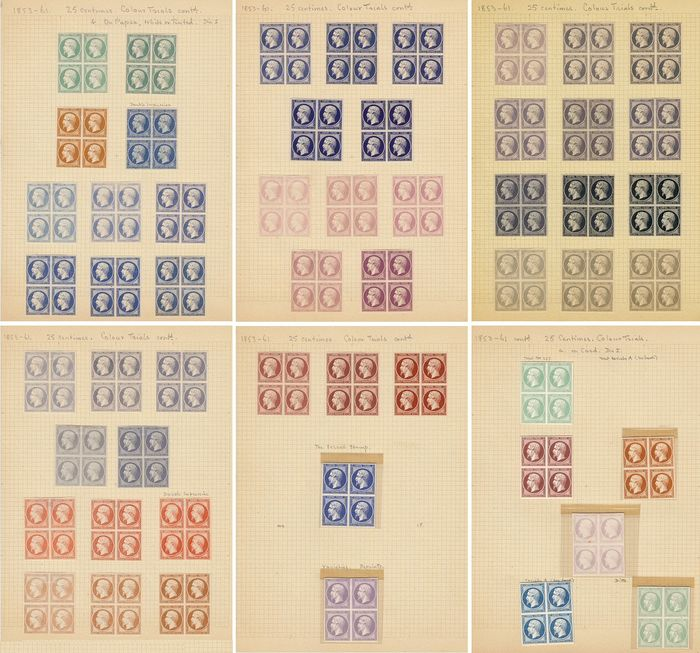 Frankrijk 1853 - Collection of colour tests in blocks of 4, on 25 cents - Yvert n° 15