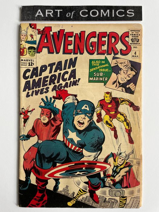 The Avengers #4 - 1st Silver Age Appearance Of Captain America (Steve Rogers) - Mid Grade - Key Book!!! - Broché - EO - (1964)