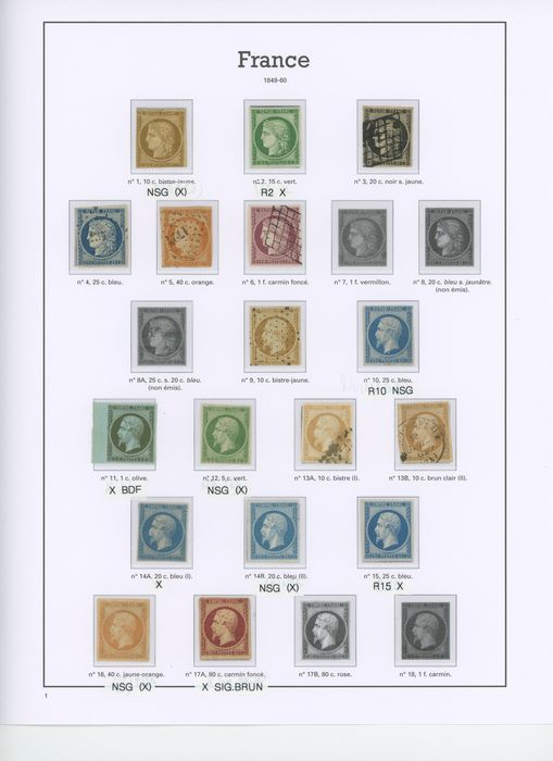 Frankreich 1849/1871 - A beautiful set of classic Ceres and Napoleon stamps - Quotation: +22000 - - Yvert Entre les n°1 et 38