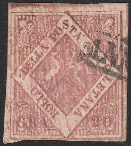 Italian Ancient States - Naples 1859 - 20 gr. 1st plate brownish pink, letter watermark on bottom good margins, used andvery rare - Sassone N.12 FIL Lettere