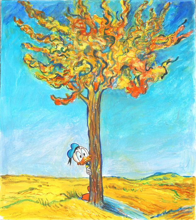 """Donald Duck inspired by Vincent Van Gogh's """"Under the Mulberry Tree"""" - Original Painting - Tony Fernandez - Acrylic"""