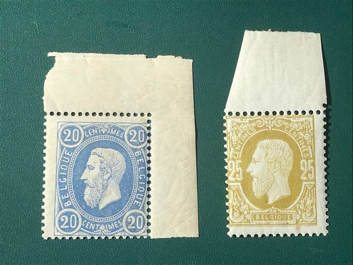 Belgio 1869 - King Leopold lI: 20 and 25 centimes with sheet edge - OBP / COB 31/32
