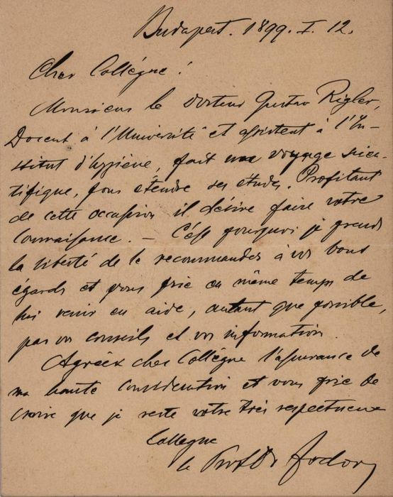 Josef von Fodor Doctor - Autograph; Letter with Presentation of the Doctor in the University and Assistant from Budapest - 1899