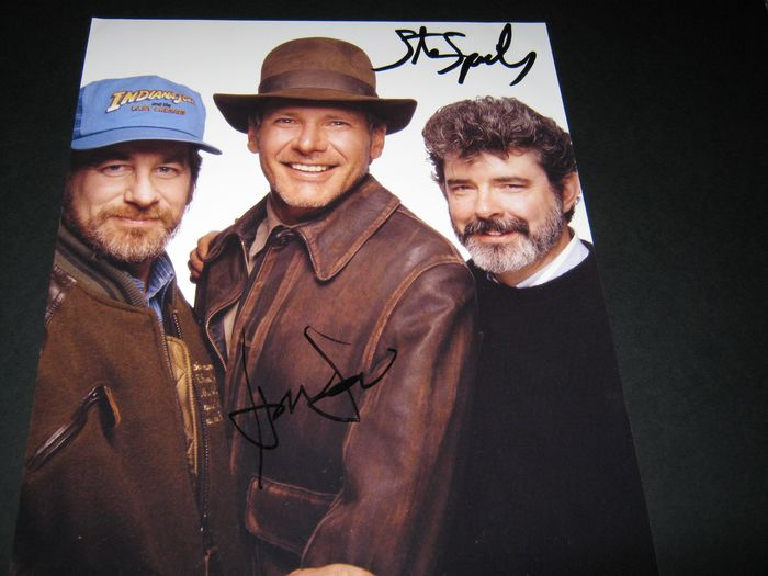 Indiana Jones and the Last Crusade (1989) - Signed in person by Harrison Ford (Indy) and Director Steven Spielberg - Authenticated - Foto, Handtekening