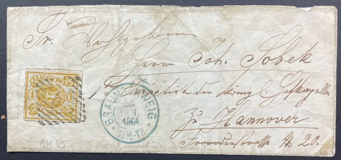 Ancienne Allemagne - Brunswick 1864 - Single franking with 1 silbergroschen, rouletted in a linear manner, on letter to Hannover, latest - Mi.Nr. 14 B
