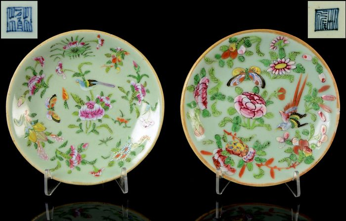 A pair of celadon plates (2) - Celadon, Famille rose - Porcelain - Birds, butterflies, insects, peonia and other flowers - China - Daoguang (1821-1850)