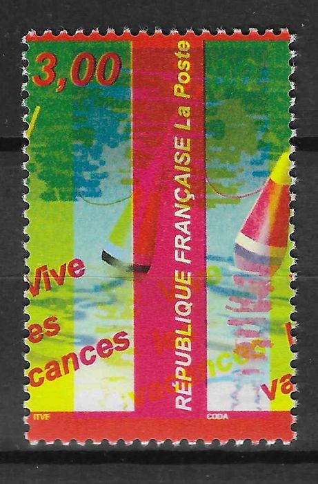 """France 1999 - Very shifted yellow, """"piquage à cheval"""" (mis-perforation), signed and with Calves certificate. - Maury n°3225b"""