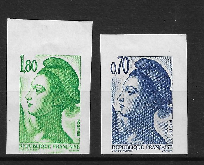 France 1982/85 - Accidental imperforate stamps, without phosphorescent strips - rare - signed and with Calves - Maury n°2245 et 2381