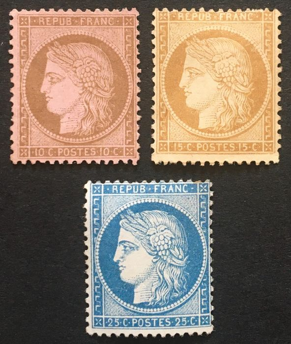 Frankrijk 1871/1873 - Classic mint Ceres 10 cts brown on pink, 15 cts bistre, 25 blue - Yvert Tellier n° 58,59,60