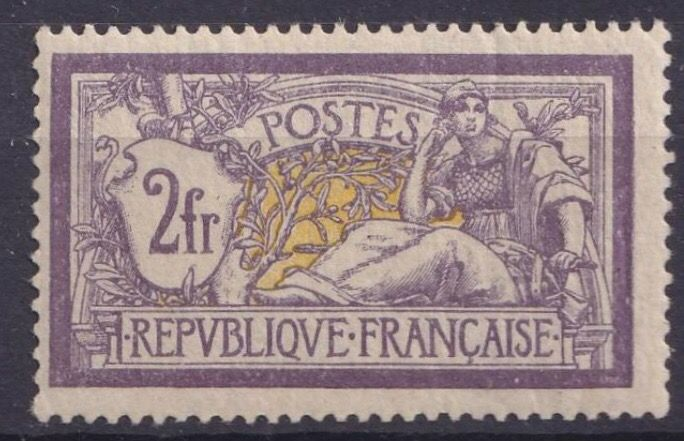 France 1900 - Merson type, 2 francs purple and yellow, mint - Yvert Tellier n°122