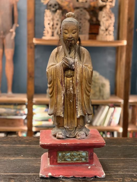 Statue (1) - Wood - Confucius - China - Qing Dynasty (1644-1911)