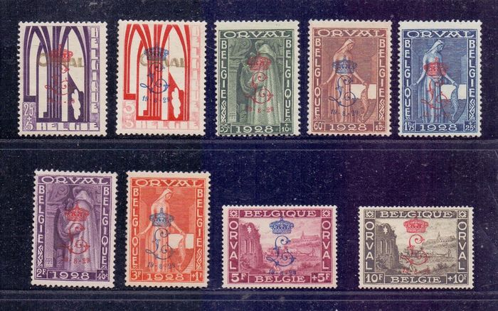 Belgien 1929 - First Orval with a crowned 'L' overprint - OBP / COB 272A/72K