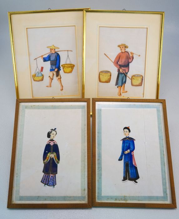 Watercolors (4) - Pith paper, Rice paper, Watercolour - China - 19th century
