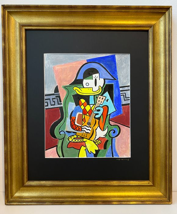 Donald Duck inspired by Pablo Picasso's Harlequin (1901 - Original Painting - Tony Fernandez - Museum Frame 90x6x77cm - Acrylic Art