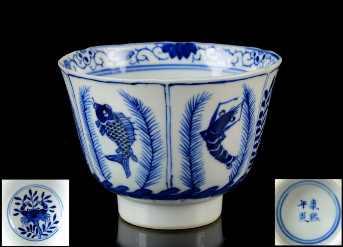 A chinese 'Fish, prawn and crab' cup - Blue and white - Porcelain - Kangxi (1661-1722) apocryphal mark - 'Fish, shrimp and crab' cup - China - Guangxu (1875-1908)