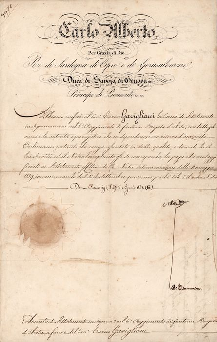 Carlo Alberto King of Savoy - Autograph; Signed Military Document also signed by Minister Salvatore Pes - 1835