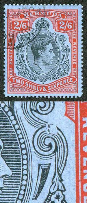 Bermuda - SG117ae 2/6 black and red/grey-blue Variety Broken Lower Right Scroll