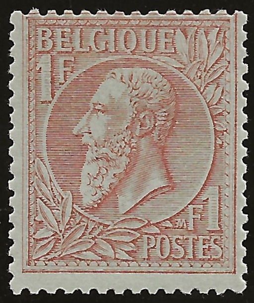 Belgien 1884 - 1 Fr Red-brown on green - Leopold II with left-looking profile - New type - OBP/COB 51