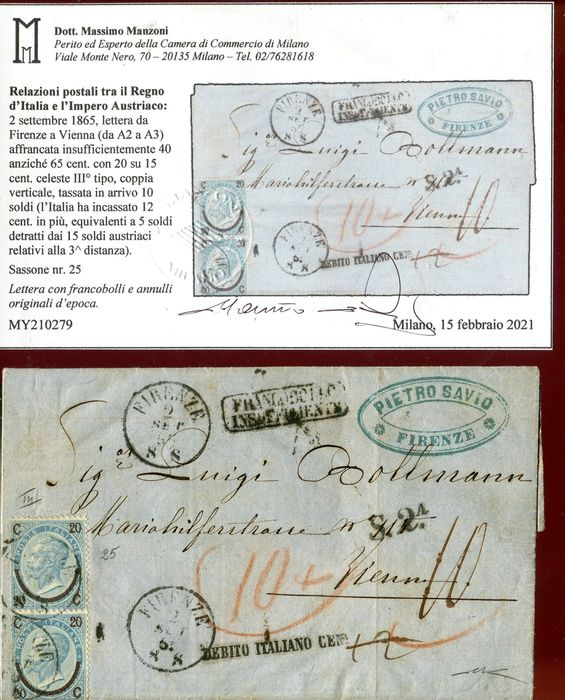 Italy Kingdom 1863 - Postal relations between the Kingdom of Italy and the Austrian Empire. - Sassone L16, L18, L20, 23. 25.