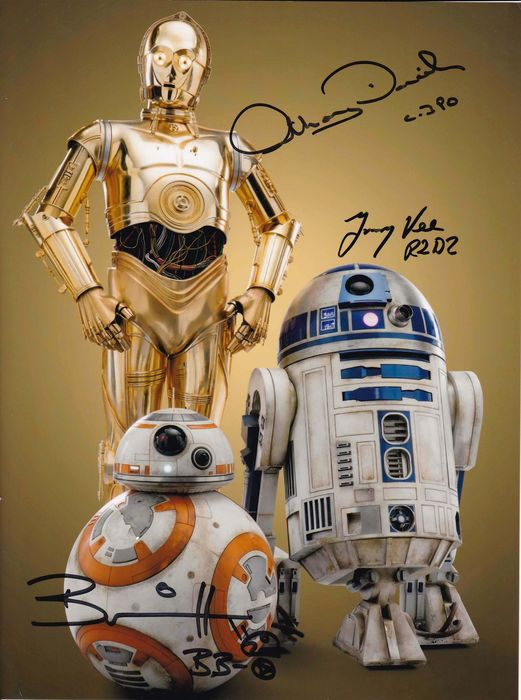 Star Wars - Triple signed by Anthony Daniels (C-3PO), Brian Herring (BB-8) & Jimmy Vee (R2-D2) - Foto, Handtekening, Signed with COA