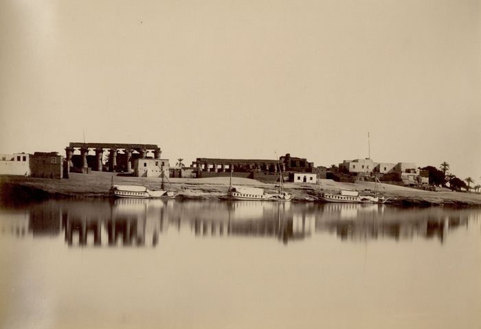 Antonio Beato (1825-1906) (attributed to) - Early XL Size Nice General View of Luxor, Egypt, c 1870 - 26 x 37 cm