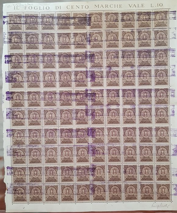 Italië 1944 - R.S.I. full sheet of 100 authorised delivery, handmade purple local overprint of Turin with variety - C.E.I.  n° 1 - 2