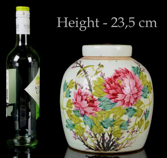 A Chinese double jar and cover (2) - Famille rose - Porcelain - Birds, flowers - Perfect condition - China - 19th century