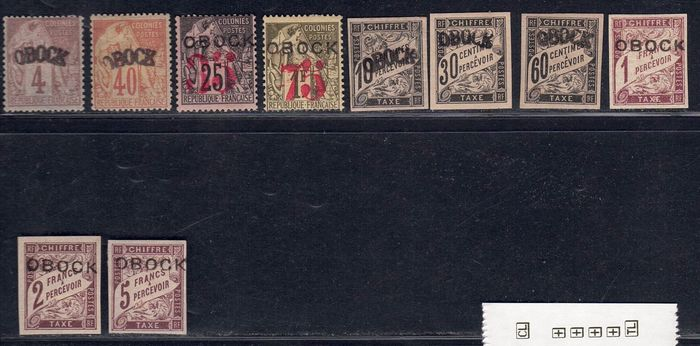 OBOCK - Ten important stamps, all inspected