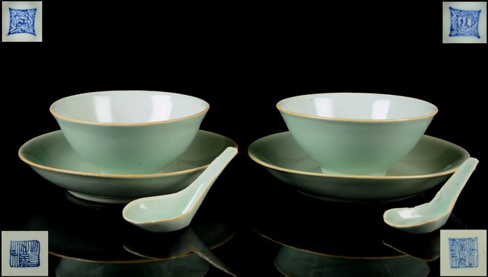 A two person service: pair of bowls, plates and spoons (6) - Celadon, Monochrome - Porcelain - No reserve price - China - Daoguang (1821-1850)