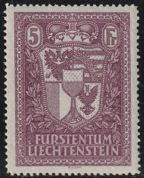 Liechtenstein 1935 - Vaduz Exhibition, coat of arms 5 f. lilac, centred, with expertise - Unificato n.128