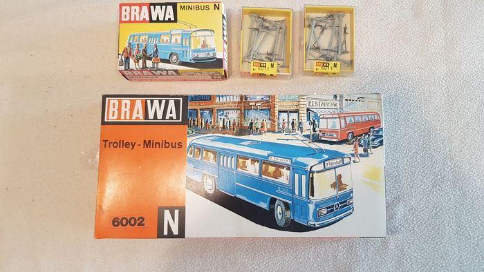 Brawa N - 6002/6000/6011 - Scenery - Trolleybus with extra bus with masts and wire