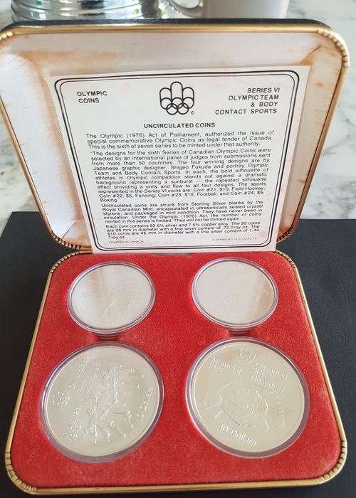 Canada. 5 + 10 Dollars 1974/1975 BU 'Olympic Games Montreal 1976' (4 pieces) in set