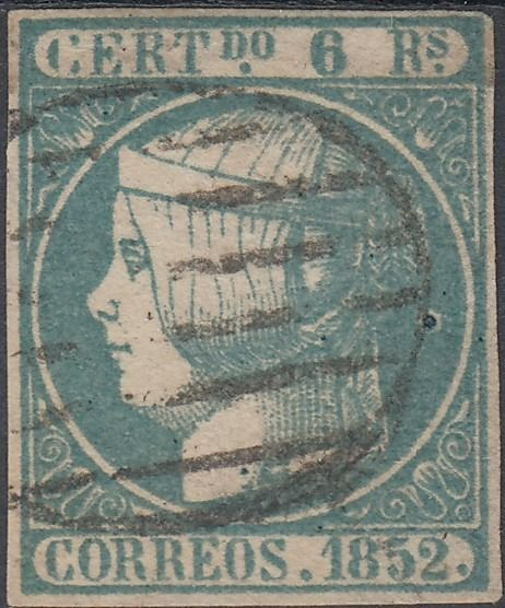 Spanien 1852 - 6 reales greenish blue stamp with black grill-type postmark. - Edifil 16