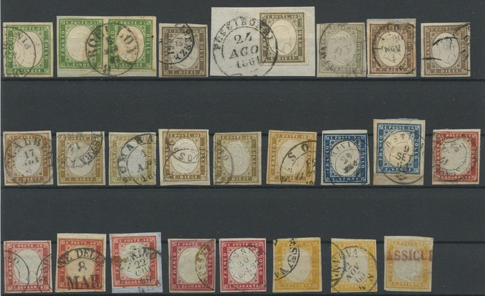 Italian Ancient States - Sardinia 1855/1863 - Collection of 25 stamps of the 4th issue, several colours - great for colour study