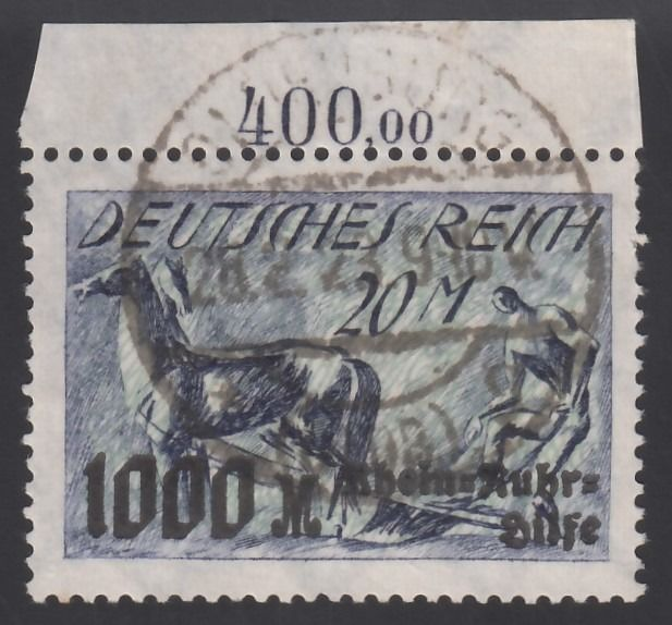 Duitse Rijk - Relief Fund for Victims with overcharge, plate printing, upper margin. - Michel, 260 P OR.