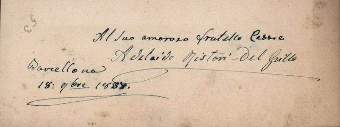 Adelaide Ristori Actress and Marquise Capranica del Grillo - Autograph; Signed Note from Barcelona with Dedication - 1857
